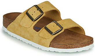Birkenstock ARIZONA SFB LEATHER women's Mules / Casual Shoes in Yellow