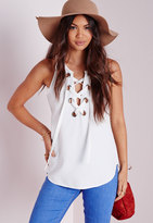 Missguided Eyelet Lace Up Cami Top White