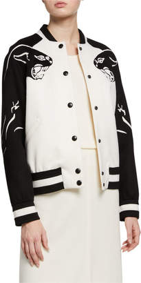 Valentino Embroidered Wool/Cashmere Leather Button Baseball Jacket