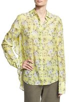 Robert Rodriguez Floral-Print Open-Back Shirt, Yellow