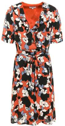 Suncoo Geranium Floral Print Short Sleeve Dress - 0 - Red/Black/White