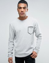 Solid Sweatshirt With Pocket Taping