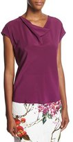Escada Cowl-Neck Cap-Sleeve Silk Blouse, Purple