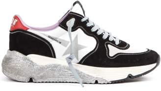 Golden Goose Suede And Mesh Black And White Running Sneakers