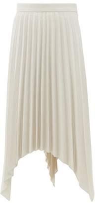Acne Studios Ilsie Pleated Asymmetric Wool Blend Skirt - Womens - White Multi