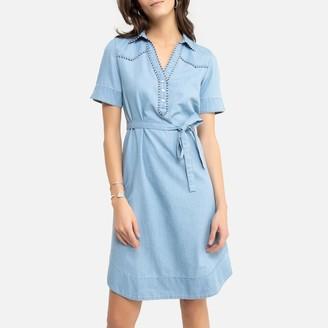 Anne Weyburn Draping Denim Shift Dress with Short Sleeves