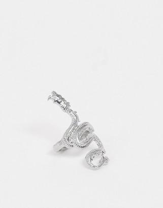 ASOS DESIGN ring in dragon design in silver tone
