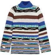 Missoni Striped Wool-blend Turtleneck Sweater - Blue
