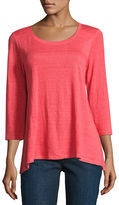 Eileen Fisher 3/4-Sleeve Scoop-Neck Organic Linen Tee