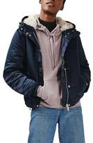 Topshop Women's Fuse Faux Fur Lined Satin Bomber Jacket