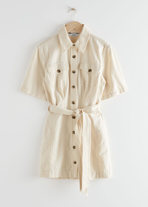And other stories Belted Shirt Mini Dress