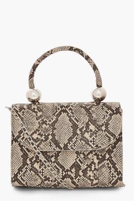 boohoo Snake PU Structured Handle Bag & Chain