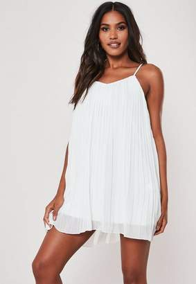 Missguided White Strappy Pleated Mini Dress