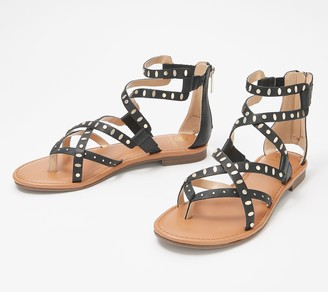 Laurie Felt Leather Strappy Sandals with Hardware Detail