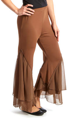 Pretty Angel Women's Casual Pants ECRU(EC) - Ecru Ruffle Palazzo Pants - Women
