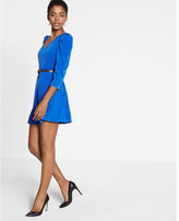 Express Puffed Shoulder Fit And Flare Dress