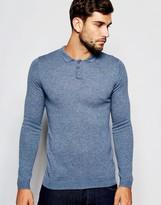 Asos Merino Wool Muscle Fit Long Sleeve Polo