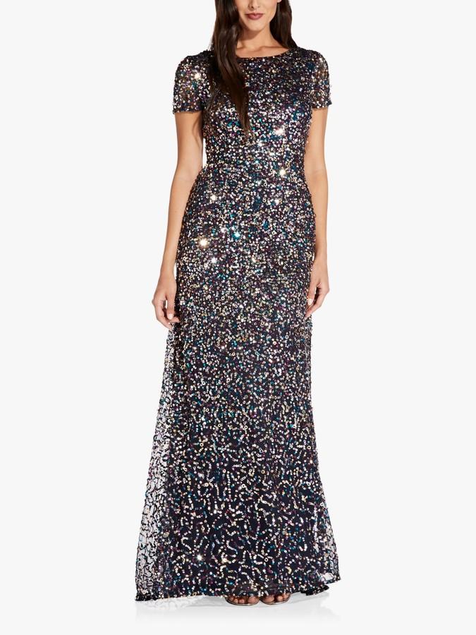Adrianna Papell Beaded Maxi Gown, Midnight/Multi