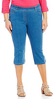 Allison Daley Plus 5-Pocket Pull-On Stretch Denim Capri