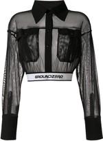 Ground Zero cropped branded waistband shirt