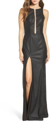 La Femme Faux Leather Open Back Trumpet Gown