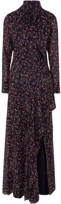Chloé Pussy-bow Embroidered Floral-print Silk-georgette Gown