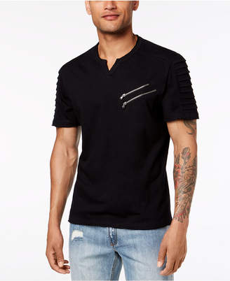 INC International Concepts Inc Men Split-Neck Zipper T-Shirt