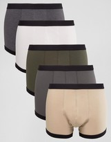 Asos Trunks With Black Contrast Binding 5 Pack SAVE
