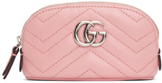 Gucci Pink Mini GG Marmont 2.0 Quilted Zip Pouch