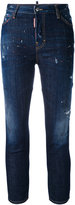 DSQUARED2 cropped distressed skinny jeans - women - Cotton/Polyester/Spandex/Elastane/Wool - 42