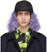 Prada Black and Purple Fur Flap Iris Cap