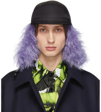Prada Black and Purple Fur Flap Iris Cap