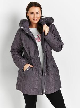 Evans Grey Quilted Coat