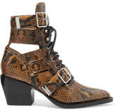 Chloé Rylee Cutout Python-effect Leather Ankle Boots - Snake print