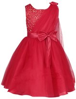 DAXIANG Little Girls Bow and Rose Flowers Shiny Sequins Full Dress with Cape