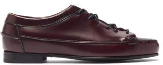 Hereu - Priega Lace-up Leather Loafers - Womens - Burgundy