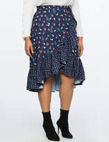 ELOQUII Ruffle Mixed Print Wrap Skirt