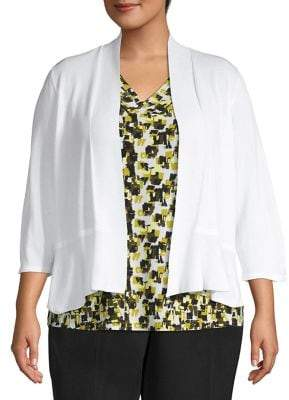 Kasper Plus Open-Front Cotton Blend Cardigan