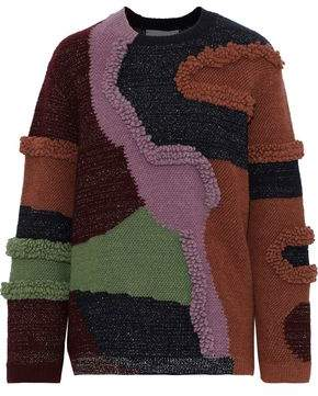 Peter Pilotto Patchwork-effect Metallic Cotton-blend Boucle Sweater