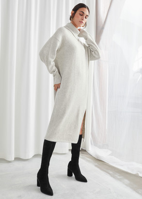 And other stories Knitted Turtleneck Wool Blend Dress
