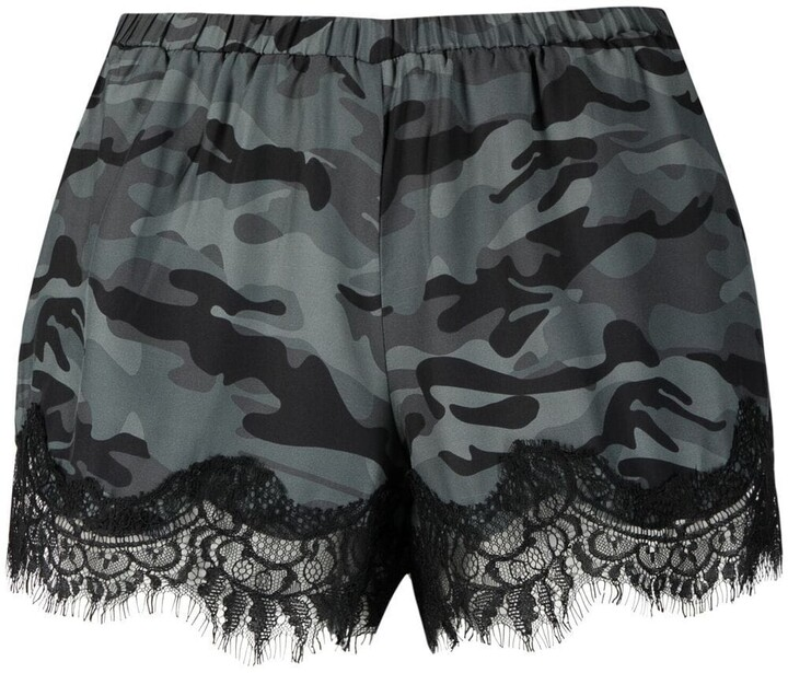 Thumbnail for your product : Gold Hawk Lace-Hem Camouflage Silk Shorts