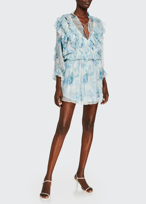 IRO Banon Printed Ruffle Mini Dress