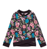 Celebrity Pink Black Floral Space-Dye Bow-Back Sweater - Girls