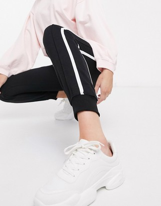 New Look side stripe jogger in black