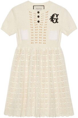 Gucci Petit wool knit dress with G patch