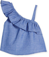 Milly Minis Ruffle-Trim Chambray Top, Blue, Size 8-16