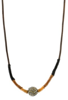 T.r.u. by 1928 14 K Gold Dipped Black Diamond Color Fireball Linen Wrapped Necklace