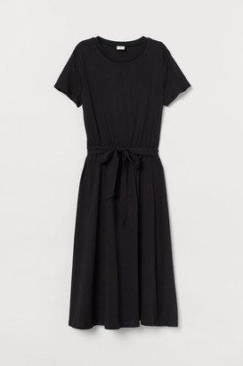 H&M Tie-belt Jersey Dress - Black