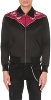 Saint Laurent Rose-embroidered cotton-blend bomber jacket