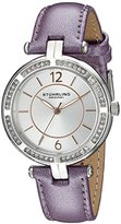 Stuhrling Original Vogue Women's Quartz Watch with Silver Dial Analogue Display and Purple Leather Strap 550.03